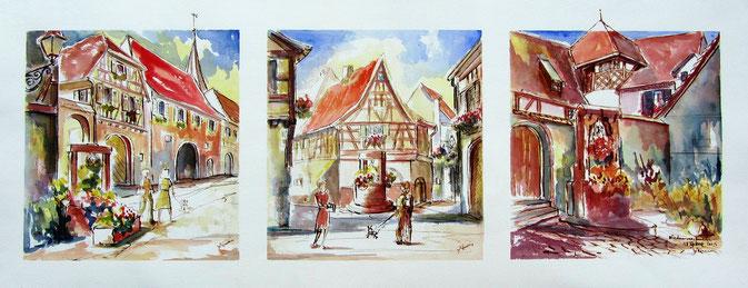 Clocher vrillé, unique en Alsace, village alsace, aquarelle Alsace, Alsace