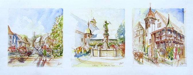 Colmar , la Petite Venise, la Fontaine Schwendi, la Maison Pfister. village alsace, aquarelle Alsace, Alsace