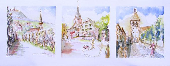 Rorschwihr, Rodern, Bergheim :grands crus Gloeckelberg, Altenberg, Kanzlerberg, village alsace, aquarelle Alsace, Alsace