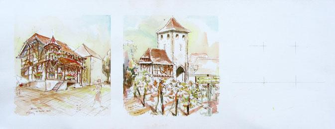 Aquarelle Alsace : Scherwiller, Dambach-la-Ville.Maisons à colombages,grand cru Frankenstein,pierres et vin de granite, Nuit du vin,Eurovin.