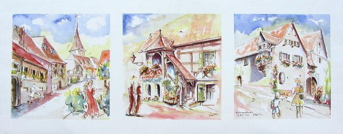 Maisons anciennes à colombages et oriels, village alsace, aquarelle Alsace, Alsace