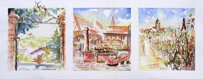 Aquarelle Alsace : Grands crus Spiegel,Pfinstberg,sentier viticole.