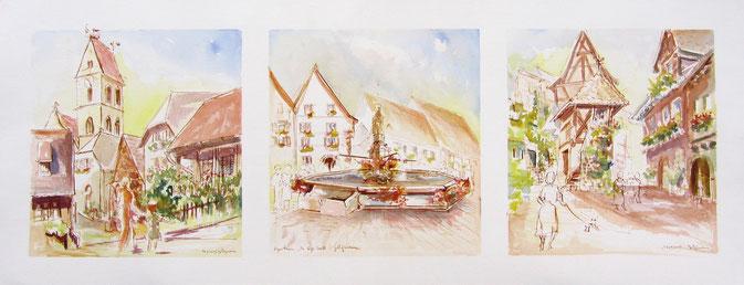 Un des plus beaux villages de France, maisons à colombages,oriels, pignons pointus,fête des vignerons,trois châteaux. village alsace, aquarelle Alsace, Alsace