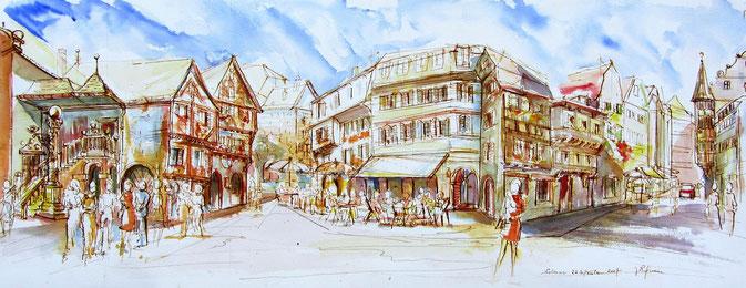 Colmar : Le carrefour de la rue des Marchands et de la Grand'rue