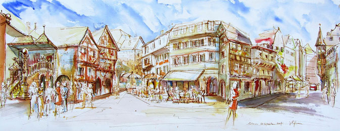 Colmar , le carrefour de la rue des Marchands et de la Grand'rue. village alsace, aquarelle Alsace, Alsace