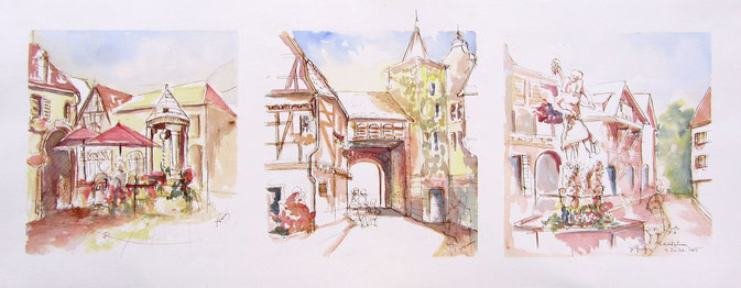 Château Renaissance, Porte Basse, La fontaine des vendangeurs,Musée du vignoble des Vins  d'Alsace ,grands crus de Schlossberg. village alsace, aquarelle Alsace, Alsace