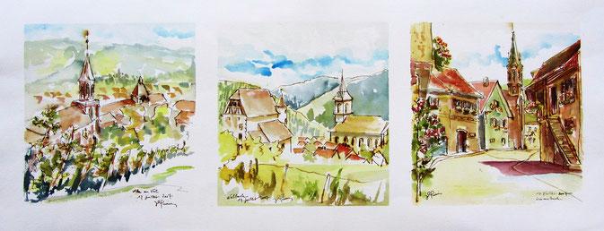 Vignes des côtes du Val-st-Grégoire, village alsace, aquarelle Alsace, Alsace