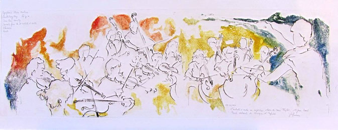 * 971 - L'orchestre à cordes de Marie Triplet, Ecole Nationale de Musique d'Epinal  85 x 33, Vélin d'Arches