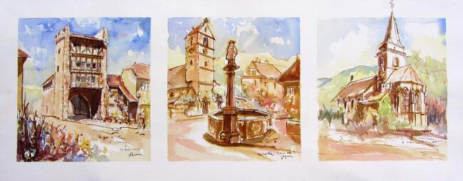parc à cigognes,vallée de la Thur,Oratoires, village alsace, aquarelle Alsace, Alsace