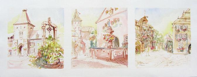 village alsace, aquarelle Alsace, Alsace