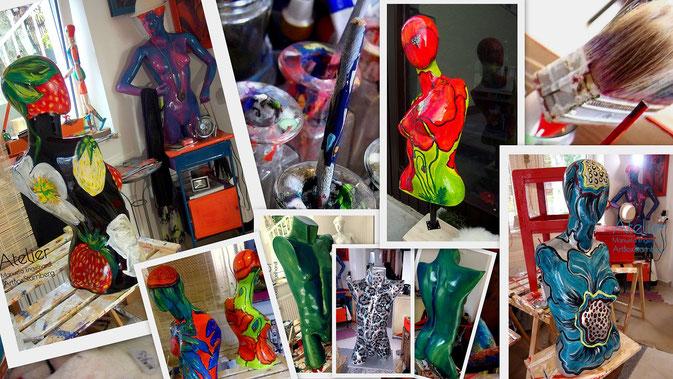 Bemalen eines Torsos - Individuelle Kurse im Atelier Manuela Engelhardt, ArtBoxStarnberg, Hauptstraße 23, 82319 Starnberg