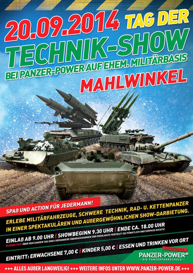 Plakat zum Tag der Technik-Show 2014 bei der Panzerfahrschule Panzer-Power in Mahlwinkel
