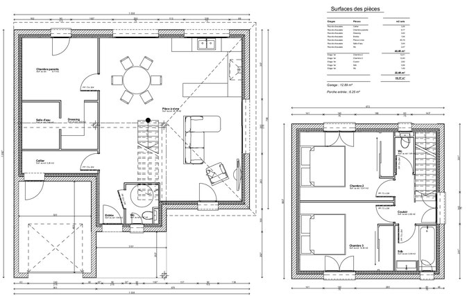 Maison contemporaine dessinateur plans permis de for Plan maison t3
