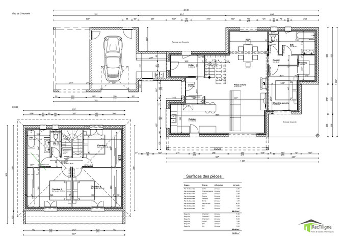 Plan maison Etage 145 m²