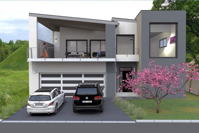 Plan maison moderne 160 m²
