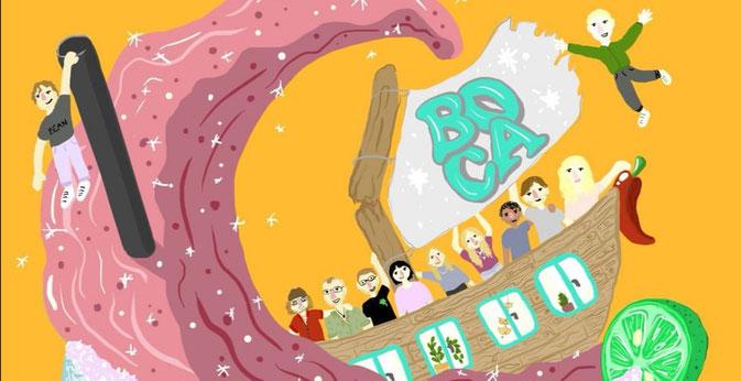Zeichnung einer Arche mit Besucher und Besucherinnen des Boca mit dem Boca-Logo als Segel