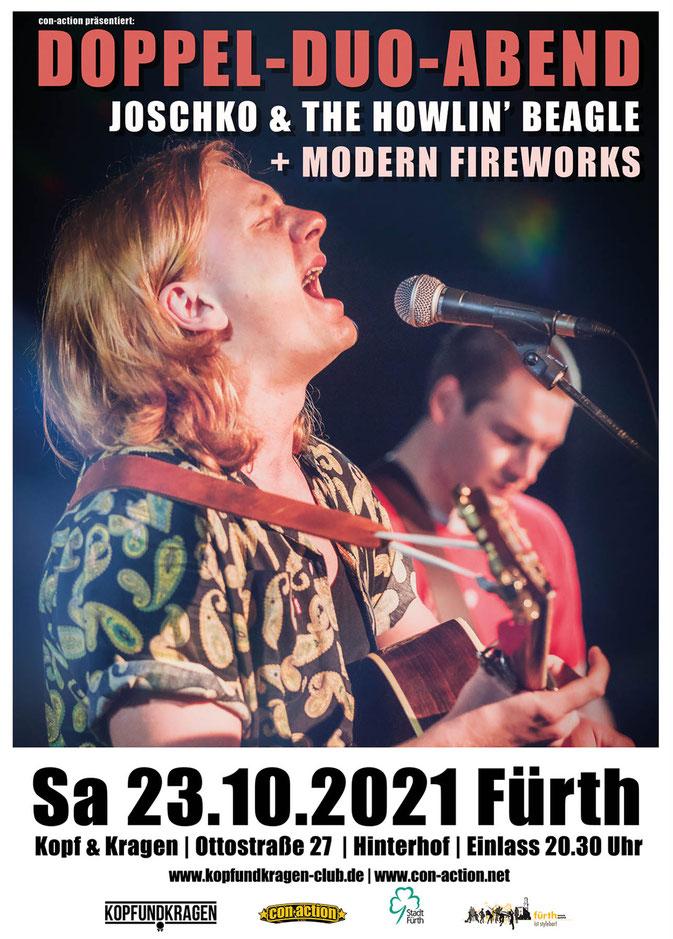 Flyer der Veranstaltung mit Datum sowie einem Livefoto der Musiker