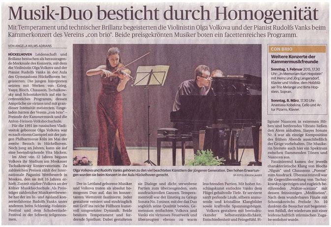Virtuoser Violinabend mit Olga Volkova und Rudolf Vanks