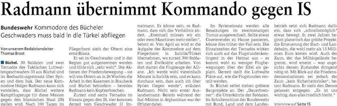2016-03-17 Rheinzeitung Kommodore Holger Radmann Interview Büchel Syrien Tornados Incirlik IS