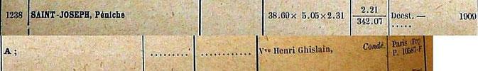 Registereintrag von 1929, gefunden und zur Verfügung gestellt vom Museé de la batellerie et des voies navigables (Museum der Schifffahrt und der Wasserstrassen) in Conflans-Sainte-Honorine / Frankreich