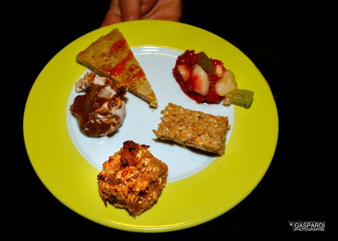 Un échantillon de nos différents petit-déj': pancake, cookie, mousse au chocolat, etc.