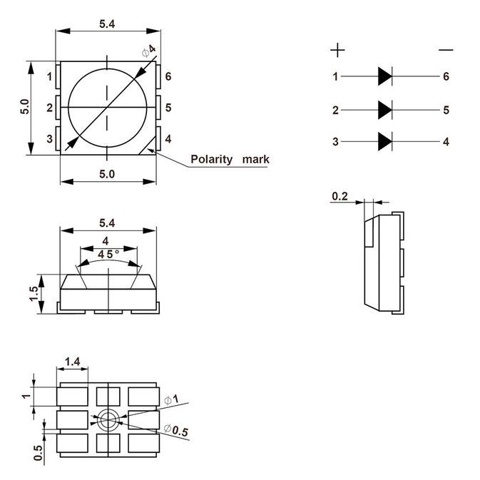 dimensiones de cada led 5050