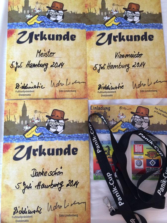 Unsere Urkunden zum Panik-Cup 2014