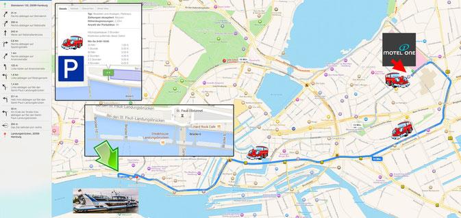 Anfahrt mit dem Auto zum Mini-Rockliner Hafen Landungsbrücke 10