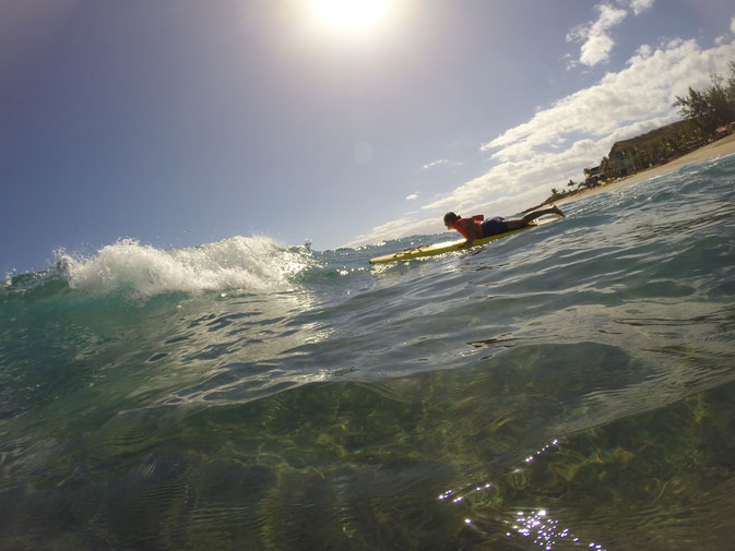 Sauvetage à partir d'un paddle board
