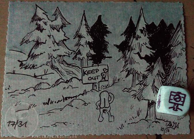 Wald Halloween Inktober Zeichnung Tinte