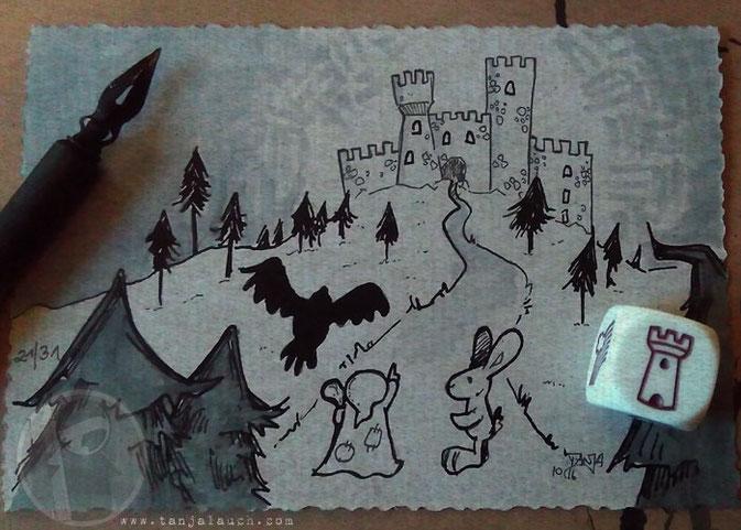 Inktober Halloween Burg Wald Zeichnung