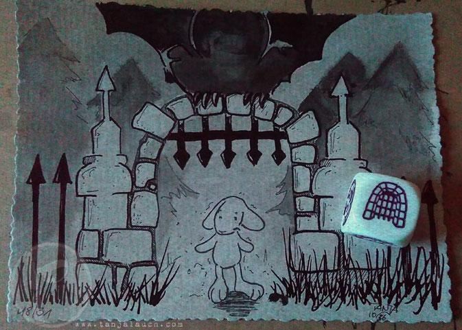 Halloween Inktober Zeichnung Tinte Schloss gruselig