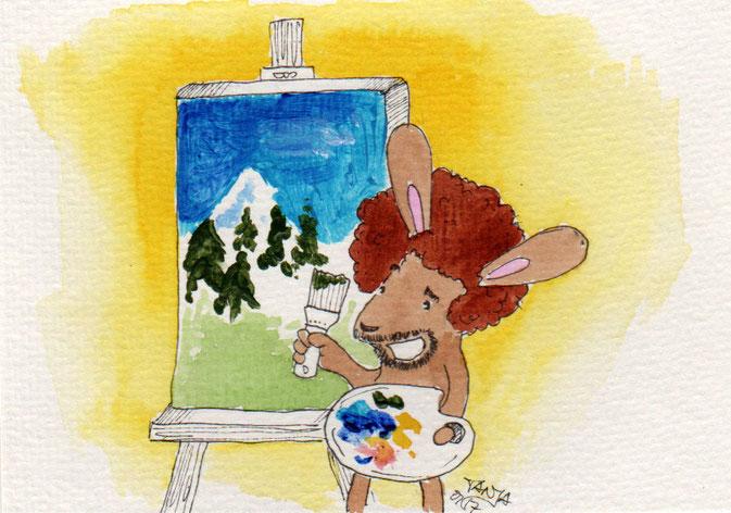 365-Tage-Doodle-Challenge - Stichwort: Staffelei - Malen mit Bob Ross
