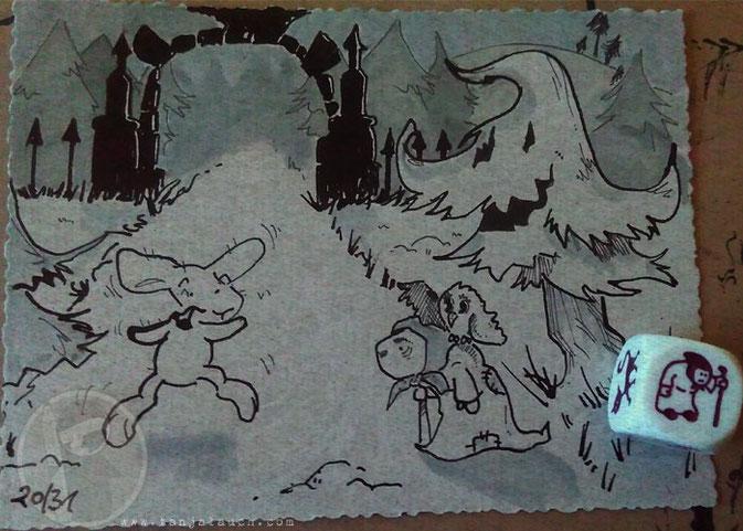 Inktober Grusel Eule Wald Halloween Tinte Feder Zeichnung