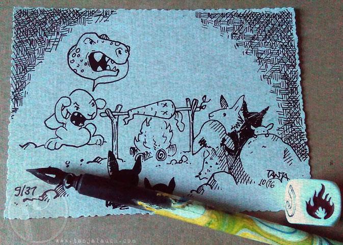Steinzeit Feuer Dinosaurier Hase Tinte Feder Inktober