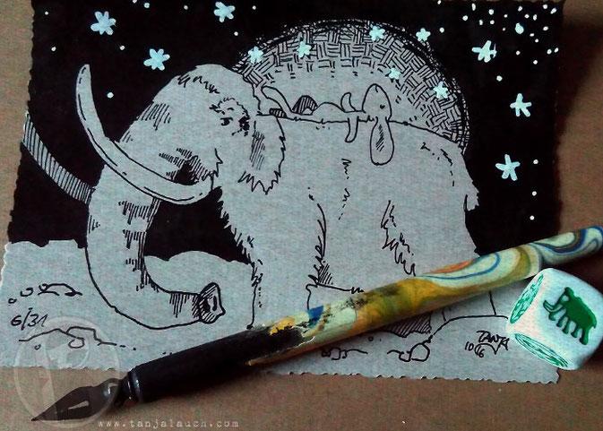 Mammut Zeitreise Hase Sterne Tinte Feder Zeichnung