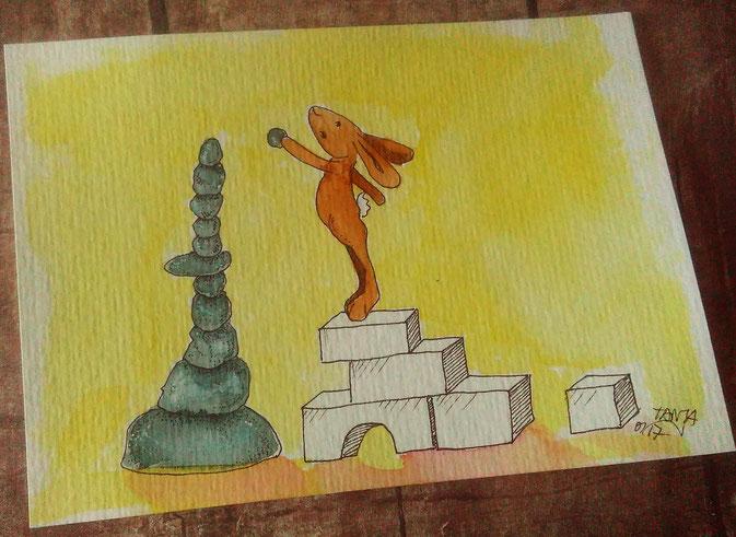 """Hasi probiert sich im sogenannten """"Rock balancing""""."""