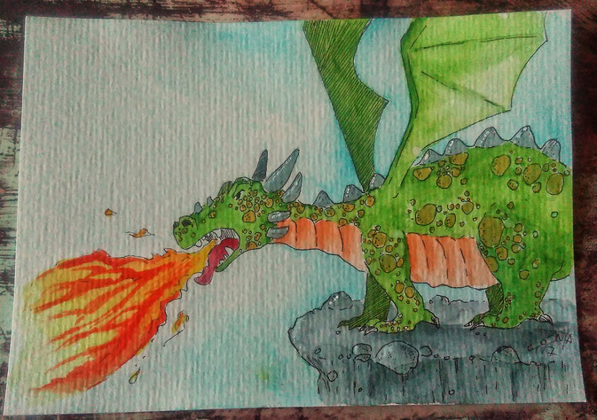 Doodle 16/365 - Stichwort: feuerspuckender Drache