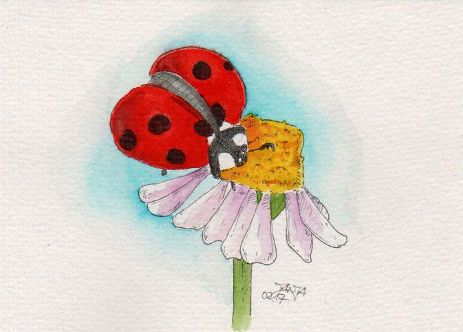 365-Tage-Doodle-Challenge - Zeichnung von einem Marienkäfer