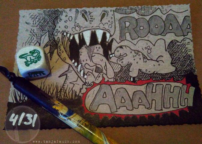 Dinosaurier StoryCubes Tinte Zeichnung Feder Hase