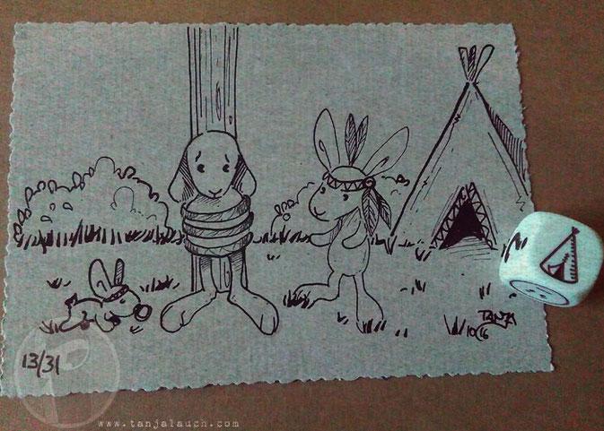 Indianer Amerika Inktober Hase Tinte Feder Zeichnung StoryCubes