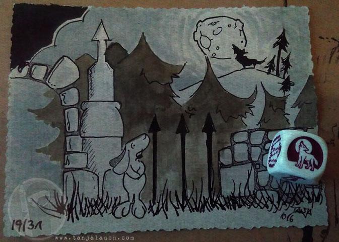 Inktober Halloween Wolf Mond Wald gruseliges Schloss