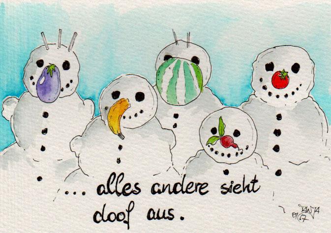 365-Tage-Doodle-Challenge - Aquarellzeichnung von Schneemännern