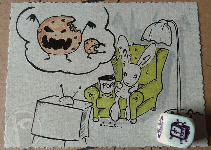 Halloween Inktober Zeichnung Tinte Cookies Zombie Traum