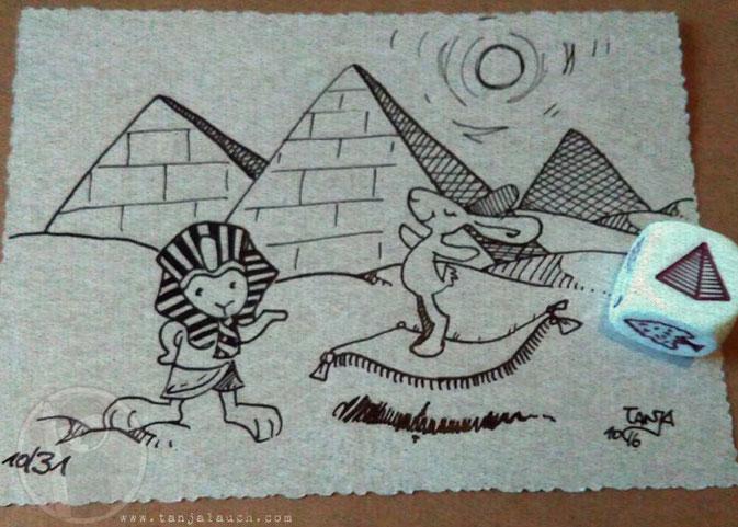 Ägypten Pyramiden Pharao Teppich Wüste Inktober Tinte Feder StoryCubes