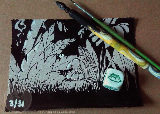 Dinosaurier, Zeitmaschine, Storycubes, Tinte, Zeichnung