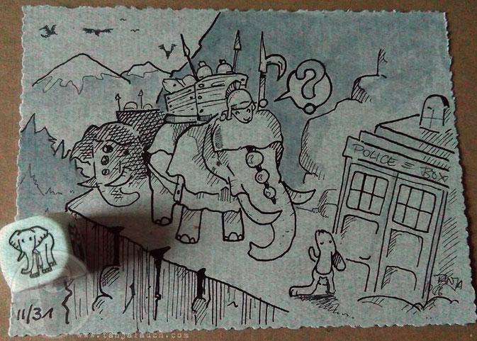 Hannibal Alpen Hase Tardis Elefanten