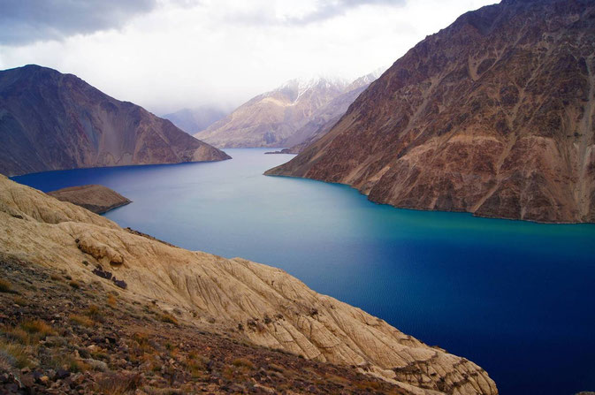 Sarez-Lake in the Bartang Valley, caused in 1911 by an earthquake and a subsequent landslide.