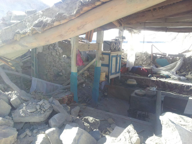 Completely collapsed house in Ghudara. Earthquake, Pamir, Bartang, Tajikistan, Gorno-Badakhshan, GBAO