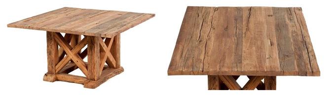 Quadratischer Esszimmertisch aus altem Holz